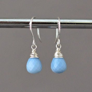Blue Opal Earrings, Sterling Silver, Wire Wrapped Briolette Gemstone Dangle, October Birthstone Jewelry