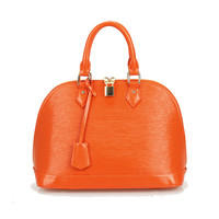 Genuine Leather Dome Bag Tote Handbag with Detachable Crossbody Strap-Orange from KissBags