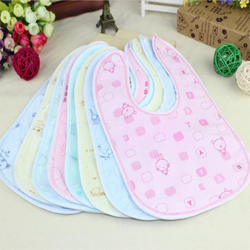 Random Color Random Style Baby Bib Velvet Waterproof Baby Care Feeding Printing Bibs Towel Multi Color Free Shipping