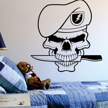 Military Skull Art Decal Sticker Wall Vinyl