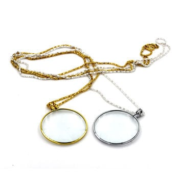 Decorative Monocle Necklace Magnifier Gloden Coin Magnifying Glass Pendant 5X