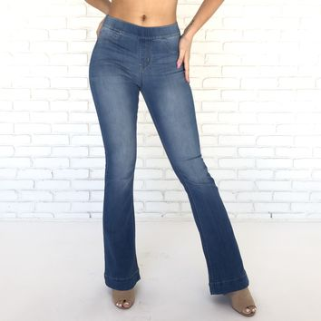 Jack Blue Wash Denim Flare Bell Bottom Pants