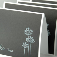 Handmade black and white note cards Hello friend by ecoPaperie