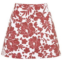 Flower Patterned A-Line Skirt - Red