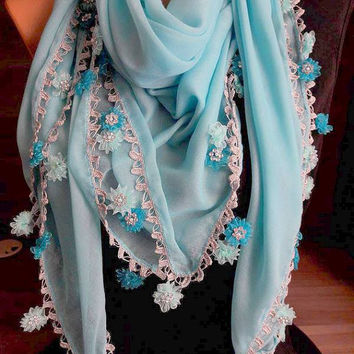 Handmade Turkish Yemen . Mother's Day Gift . Handmade Cotton Scarves. Women's Fashion Accessories. Crochet Scarf. for her Gift .Scarf. blue