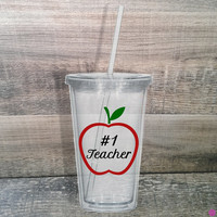 Tumbler with Apple. Gifts for teachers. #1. Worlds Best. Morah Hebrew. School. Preschool. Kindergarten. Choose wording. Teacher Present