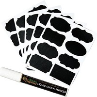 Chalkboard Labels Complete Bundle: 73 Premium Stickers for Jars + Erasable White Chalk Marker. The BEST Large and Reusable Chalkboard Labels + Smooth Liquid Chalk Pen (chisel/bullet tip) to Decorate Your Pantry Storage & Office