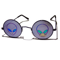 FREE SHIPPING, Alien hologram holographic round hippie hippy john lennon style retro 90s grunge sunglasses with mirror lenses and uv400