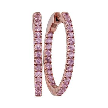 14kt Rose Gold Womens Round Natural Pink Sapphire Hoop Earrings 2.00 Cttw