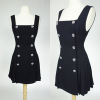 1980s black jumper, sleeveless fit and flare mini dress w/ black and white striped buttons, pleated skirt, Angel, Small, medium