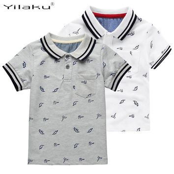 New Summer Dinosaur Boys T-shirts Cotton Kids Tops Sports Tee Turn-down Collar Boys Po