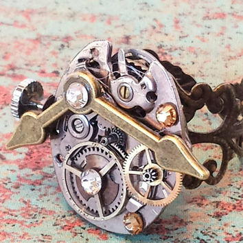 Steampunk ring with watch parts vintage jewelry, gears, cogs industrial jewelry, steampunk jewelry, statement ring, Victorian filigree