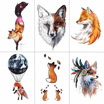 TCOOL Watercolor Fox Temporary Tattoo Sticker for Waterproof Women Fake Body Art Adult Fashion Hand Tatoo Sticker 9.8X6cm A-020