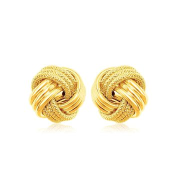 14k Yellow Gold Love Knot with Ridge Texture Earrings