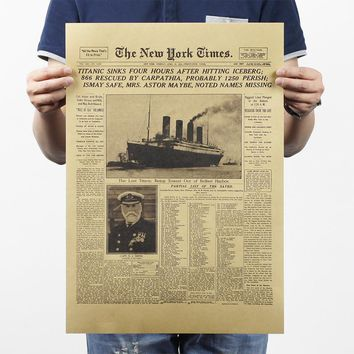 [H233] New York Times historic moment leather old newspaper system class bar decorative painting PUB HOME WALL DECOR