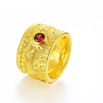 MxGxFam Men's Rings Double Dragon Red CZ 24 k Pure Gold Color Animel jewelry 8/9/10/11/12 (US)