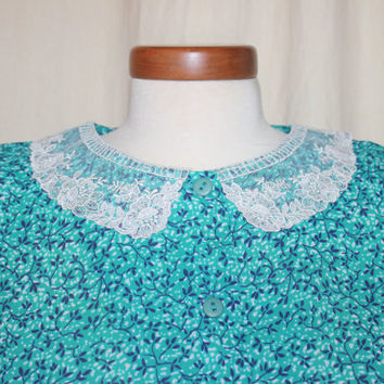 Vintage Joy Gordon Teal Green Floral Dress with Lace Collar Size 16 Plus Size