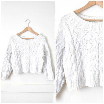 white cotton CABLE knit sweater thick RELAXED fit 90s minimalist GRUNGE cropped pull over fisherman jumper oversized os