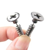 Fake Gauge Earrings: Realistic Screw Shaped Faux Plug Stud Earrings in Gunmetal Silver