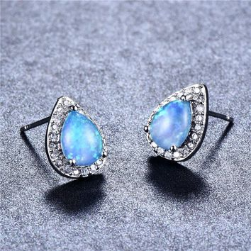 Bamos Fashion Cute Blue Fire Opal Stud Earrings 925 Sterling Silver Filled Vintage Waterdrop Wedding Earrings For Women Jewelry