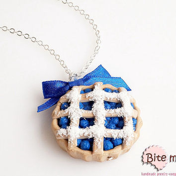 Mini Food Jewelry Blueberry Pie Necklace, Fruit Pie Pendant, Berries Tart, Miniature Sweets, Polymer Clay Food Jewelry, Kawaii Jewelry