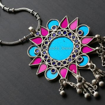 Pink Blue Glass Pendant Chain