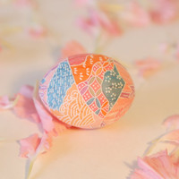 Japanese paper egg, decoupage, handmade thanksgiving -  pink with embossed bamboo and ocean waves