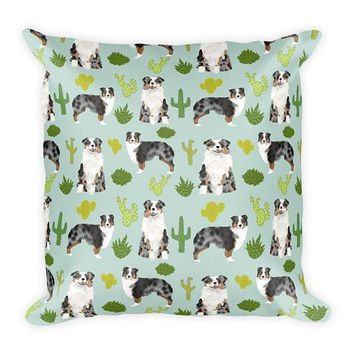 "Australian Shepherd Cactus Print Throw Pillow - 18""x18"""