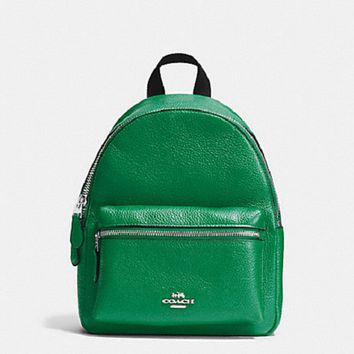 New Authentic Coach F38263 Charlie Mini Backpack Shoulder Bag in Pebble Leather Jade Green
