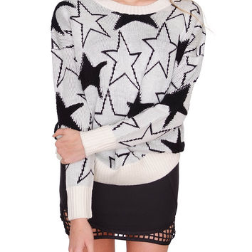 Stardust Sweater Top - Ivory/Black