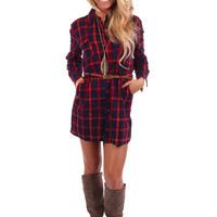Red and Navy Plaid Belted Dress or Top