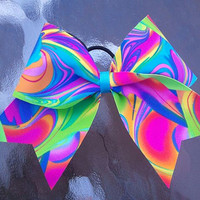3 Tie Dye Neon Cheer Bow by Bowtique24 on Etsy