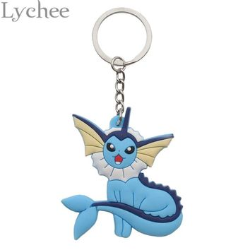 Lychee 1 piece Japan Anime Pokemon Eevee Family Silicone Key Chain Key Ring Hanging Pendant Jewelry for Men Women
