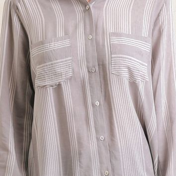 Maverick Striped Button-Up Blouse