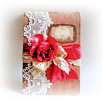 Personalized Wedding Guest Book Siganture Book Wedding Album Wishes Book Wooden Vow Shabby Wedding Guest Book Antique Lace Guest Book