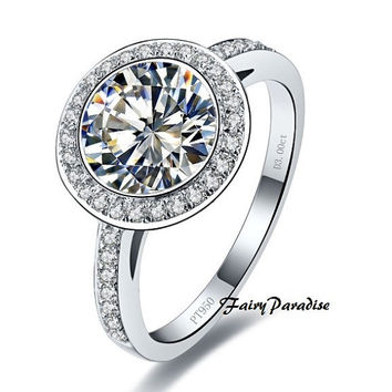 3 Ct Round Cut lab made Diamond bezel set Halo set Engagement Wedding Cocktail Rings Silver with gift box-made to order
