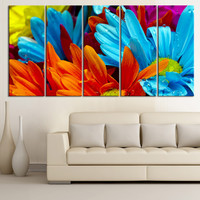 Large Wall Art Colorful Flowers Canvas Prints For Wall, Colormix 5 Panels Framed - Blue Flower - Orange Flower