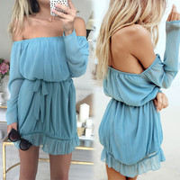 Off Shoulder Chiffon Mini Dress