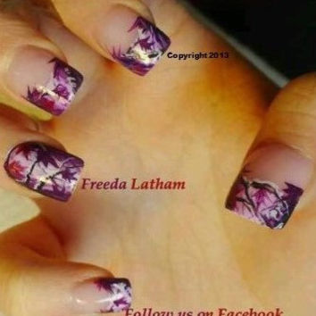 """Set of 40 Hand Painted French Purple Camo with a Twist of Red Nail Wraps from the Freeda Latham """" Signature Collection """"©"""
