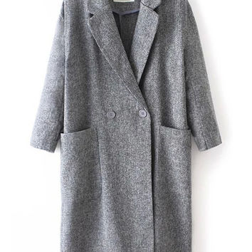 Grey Notch Lapel Double Pocket Trench Coat