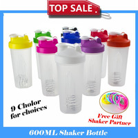 Free ship Shaker cup Gym Protein Shaker Mixer Cup sports cup With Stainless Whisk Ball/Silicone bracelet. 9 Color for choices