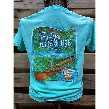 Southern Chics Let the Adventure Begin Canoe Comfort Colors Girlie Bright T Shirt