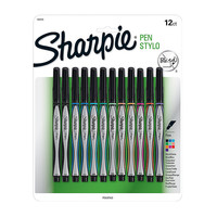 Sharpie Fine Point Pens 03 mm BlackSilver Barrels Assorted Inks Pack Of 12 by Office Depot
