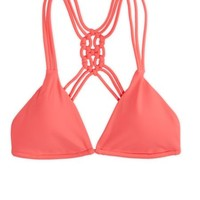 AEO Women's Macrame Triangle Bikini Top (Coral Burst)