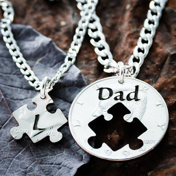 Dad Necklace, Father Son or Daughter Puzzle set, hand cut coin