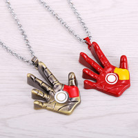 2015 New Anime one piece necklace Iron man hand pattern Men&women Cosplay Accessories gift new movie jewelry pendant