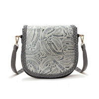 Gray Floral Across Body Bag