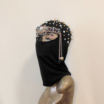 Black and Gold Spike Face Mask, Embellished ski mask, Burning man hood, Festival Headpiece, Halloween, Rave, Knights Armor Headpiece