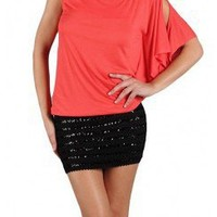 CASUAL TOP WITH SEQUIIN BOTTOM
