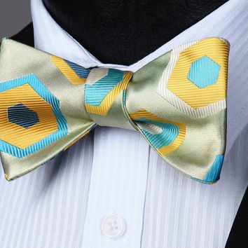 Yellow Green Geo Self Bow Tie Pocket Square